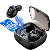Wireless Earbuds Bluetooth 5.0 Mini Headphones, IPX5 Waterproof Headset Hi-Fi Stereo in-Ear Earphones with 300Mah Charging Case, Touch Control with LED Display Built-in Mic for Gym, Sports, Workout